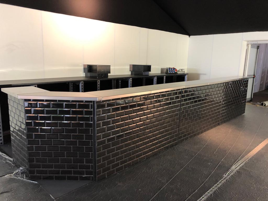 black tiled mobile bar