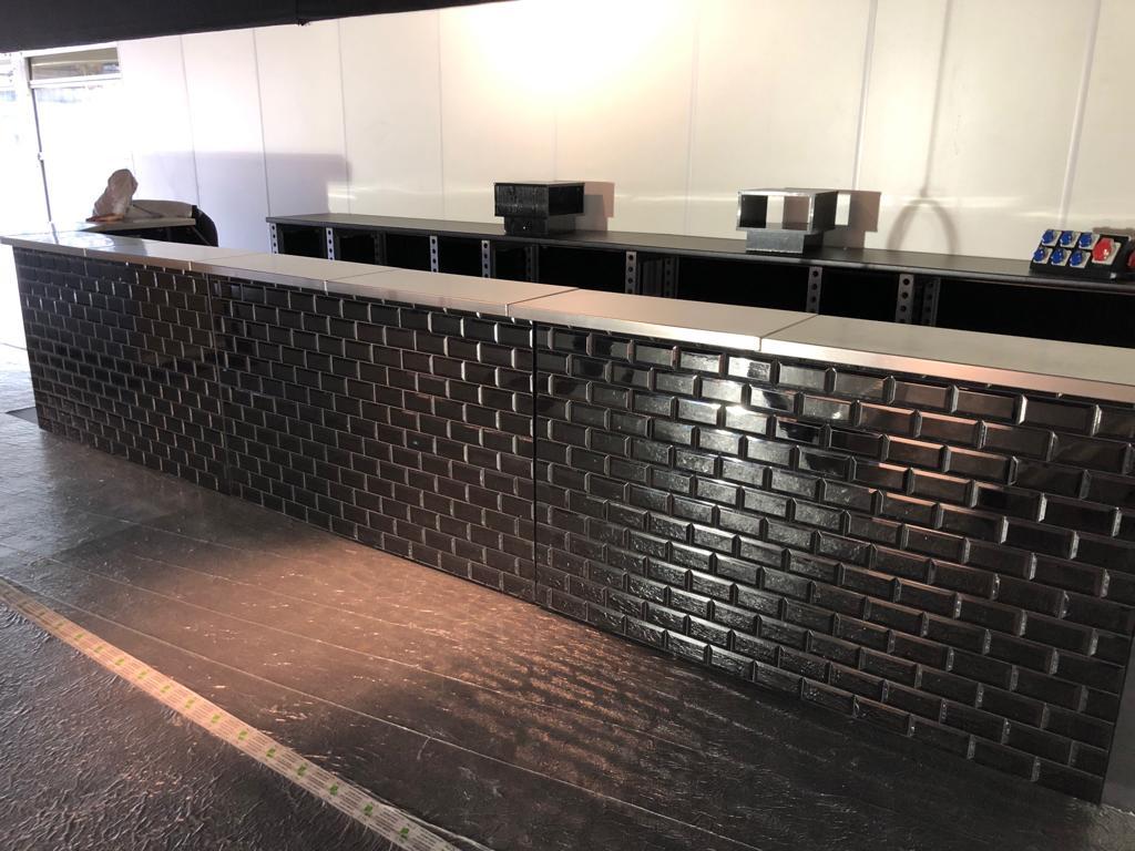black tiled mobile bar hire
