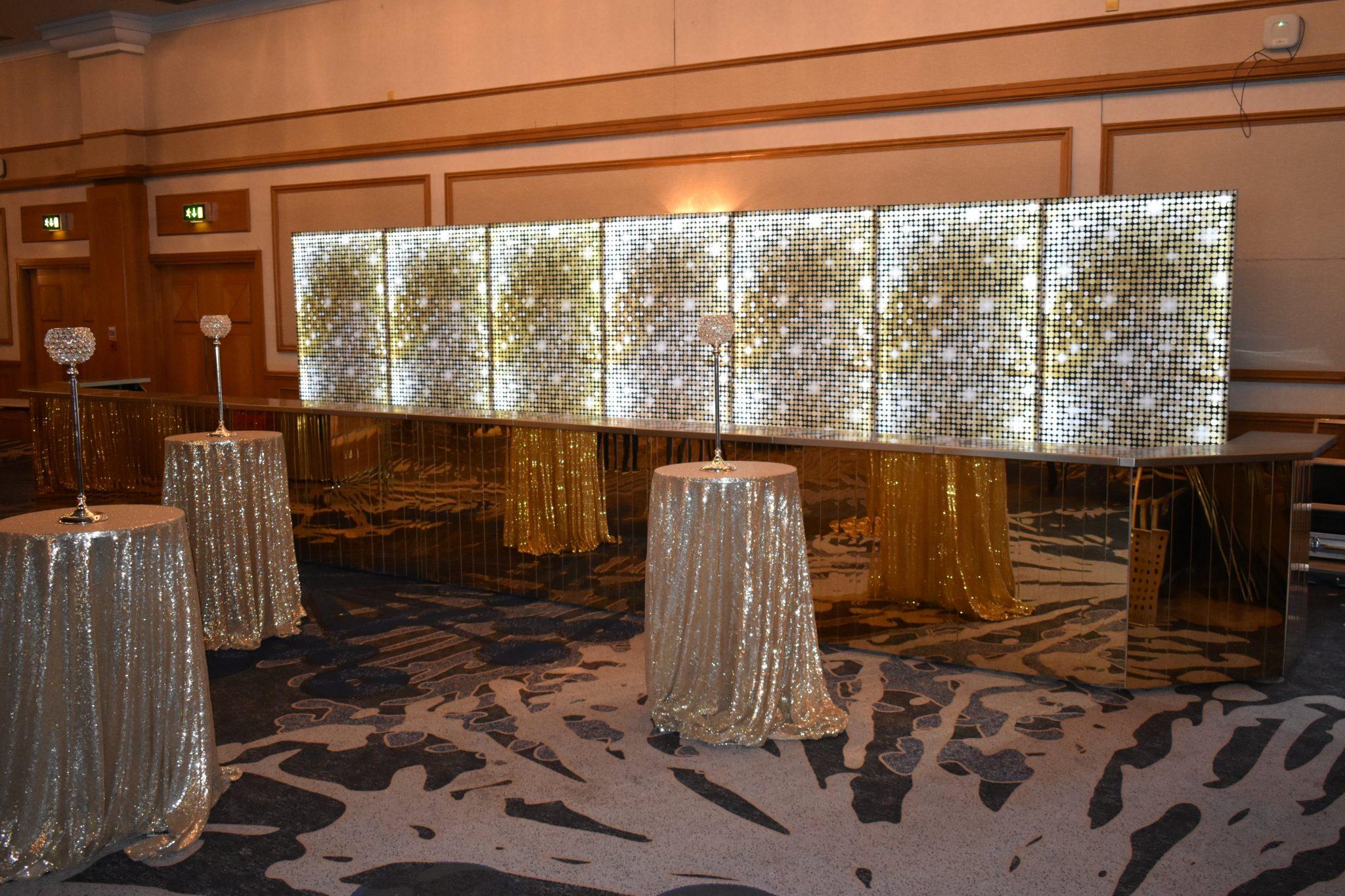 gold shimmer mobile bar hire & glitz backdrops